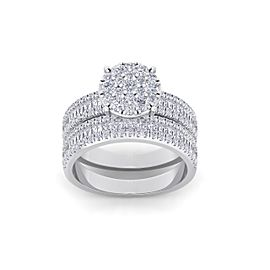 Bridal set in 18K gold with white diamonds of 1.48 ct in weight
