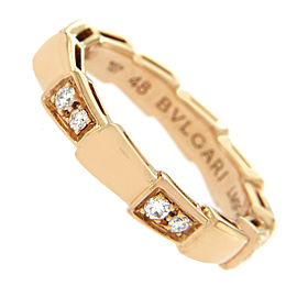 Bulgari Serpenti 18K Rose Gold with 0.25ct Diamond Eternity Band Ring Size 4.5
