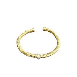 David Yurman Cable Collection 18K Yellow Gold with 0.287ct. Diamond Station Bangle Bracelet