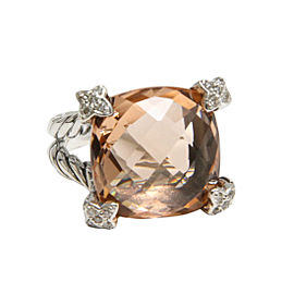 David Yurman 925 Sterling Silver Morganite Diamond Ring Size 8
