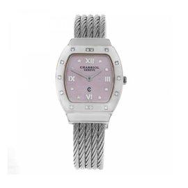 Charriol Azuro Azurtd.540.913r Stainless Steel & Pink Mother of Pearl Diamond Dial 26mm Womens Watch