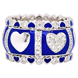 Diamond and Blue Enamel White Gold Ring 18 Karat with 1.03 Carat in Diamonds