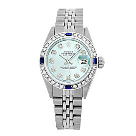 Rolex Lady Datejust 6917 26mm Womens Ice blue Diamond Dial and Bezel Vintage Watch