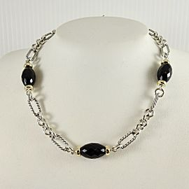 "David Yurman Sterling Silver 18K Yellow Gold 16"" Onyx Bijoux Figaro Necklace"