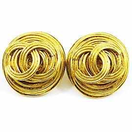 CHANEL Gold-tone Coco Mark CC Logo Round Earrings CHAT-53