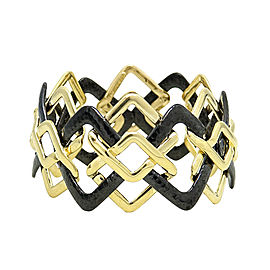 Valentin Margo 18K Yellow Gold and Silver with Black Overlay Interlocking Bracelet
