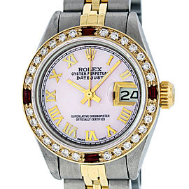 Rolex Datejust SS and 18K Yellow Gold Pink Mother of Pearl Diamond Dial 26mm Women's Watch