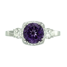Tacori 18k White Gold Amethyst & Diamond Ring Size 6.5