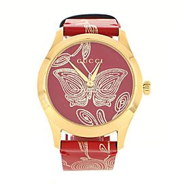 Gucci G-Timeless Quartz Watch PVD Stainless Steel and Printed Leather 38