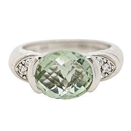 Judith Ripka Silver CZ and Green Stone Ring