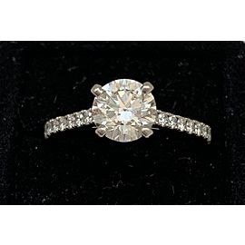 De Beers Platinum Pave Solitaire 1.13ct. Diamond Ring Size 6.5
