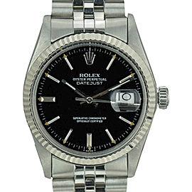 Rolex Datejust 16014 Steel 18K Gold Fluted Bezel Black Dial 36mm Men's Watch