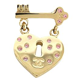 Chanel Gold Tone Hardware Heart and Key Brooch Pin
