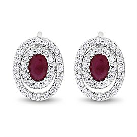 14k White Gold Natural Diamond & Ruby Double Oval Halo Earrings