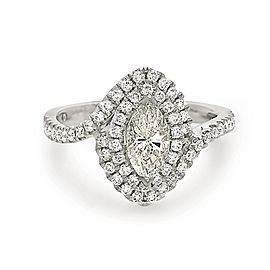 18K White Gold Marquise Cut Diamond Engagement Ring Size 6.5
