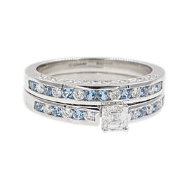 Channel Vintage 14k White Gold Asscher 1.36ctw Diamond Wedding Ring Size 6 With Topaz