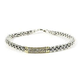 Lagos Sterling Silver 18K Yellow Gold .61tcw 4mm Pave Diamond Caviar Bar Bracelet