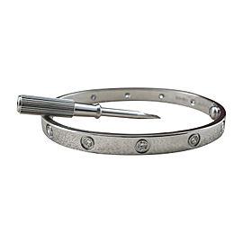 Cartier Love 18K White Gold & Diamonds Bracelet Size 18