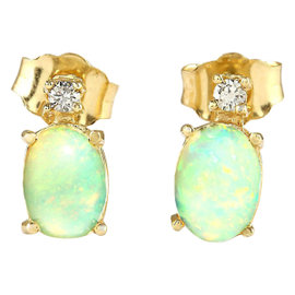 14K Yellow Gold with 1.50ct. Opal and 0.10ct. Diamond Earrings