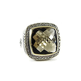 David Yurman Sterling Silver 18K Yellow Gold .48tcw 15mm Smoky Quartz Diamond Solid Shank Albion Ring