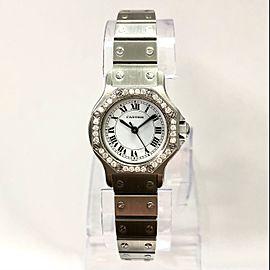 CARTIER SANTOS OCTAGON Automatic 25mm Steel Watch DIAMOND Bezel