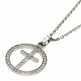 Chaumet 18K White Gold Acroche Cool Cross Diamond Necklace TNN-2025