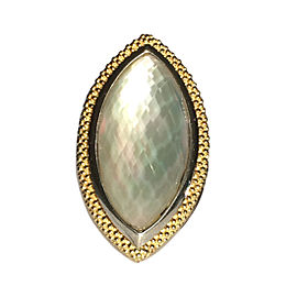 Lagos Caviar Venus 925 Sterling Silver & 18K Yellow Gold Mother of Pearl Doublet Ring Size 7