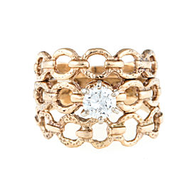 14K Yellow Gold Woven 0.35ct. Diamond Ring Size 4.75