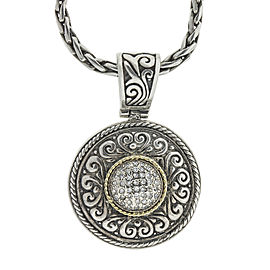 Effy Balissima Two Tone Diamond Disc Pendant Necklace