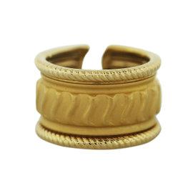 Carrera Y Carrera 18k Yellow Gold Ribbed Design Ring Size 8.5