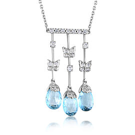 Carrera y Carrera Mariposa 18K White Gold Diamond & Topaz Briolette Pendant Necklace