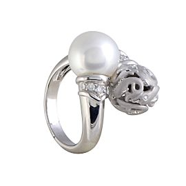Carrera y Carrera 18K White Gold with 0.18ct Diamond and Pearl Dolphin Ring Size 5.75