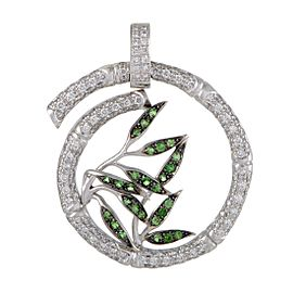 Carrera y Carrera Bambu 18K White Gold Diamond Pave and Tsavorite Large Spiral Pendant