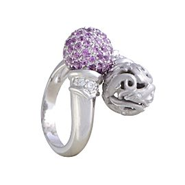Carrera y Carrera 18K White Gold with Diamond & Pink Sapphire Pave Dolphin Ring Size 6.25