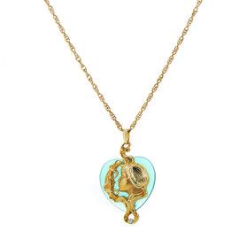 Carrera y Carrera 18K Yellow Gold Green Agate Heart Pendant Necklace