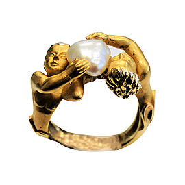 Carrera y Carrera 18K Yellow Gold With Cultured Pearl Cherub Ring Size 6.5