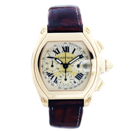 Cartier Roadster W62021Y3 18K Yellow Gold Chronograph 43mm Mens Watch