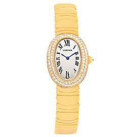 Cartier Baignoire Joaillerie 1950 18K Yellow Gold Diamond 22.5mm Womens Watch