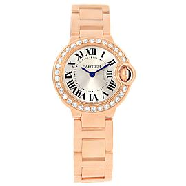 Cartier Ballon Blue WE9002Z3 18K Rose Gold Diamond 29mm Womens Watch