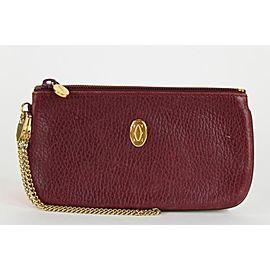 Cartier Bordeaux Leather Chain Pouch Wristlet clutch 9ct1230