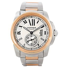 Cartier Calibre W7100036 Stainless Steel & 18K Rose Gold 42mm Mens Watch