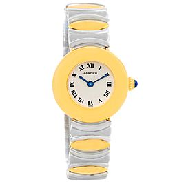 Cartier Baignoire Stainless Steel & 18K Yellow Gold 24mm Womens Watch