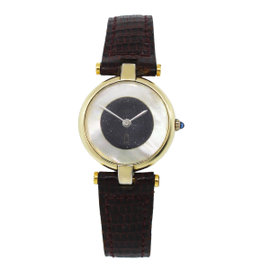 Cartier Vermeil Gold Plated Mother of Pearl Onyx Dial Vintage 24mm Womens Watch