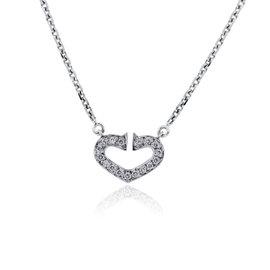 Cartier Coeur C de 18K White Gold 0.09ct. Diamond Heart Necklace