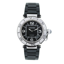 Cartier Pasha Seatimer W31088U2 Stainess Steel and Rubber 42.5mm Mens Watch