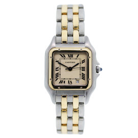 Cartier Panther Two Tone Stainless Steel and 18K Yellow Gold White Dial 27mm Womens Wristwatch