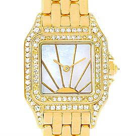 Cartier Panthere Ladies 18k Yellow Gold Diamond Sunrise Dial Watch
