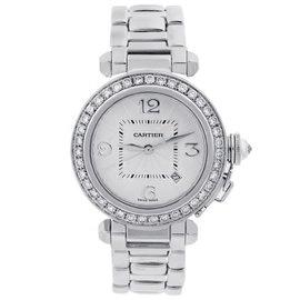 Cartier Pasha de Cartier 2528 18K White Gold Diamond Bezel 32mm Womens Watch