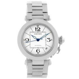 Cartier Pasha C W31074M7 Stainless Steel & White Dial 35mm Unisex Watch