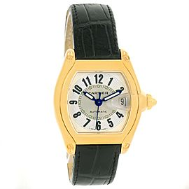 Cartier Roadster W62005V2 18K Yellow Gold Silver Dial 37mm Mens Watch